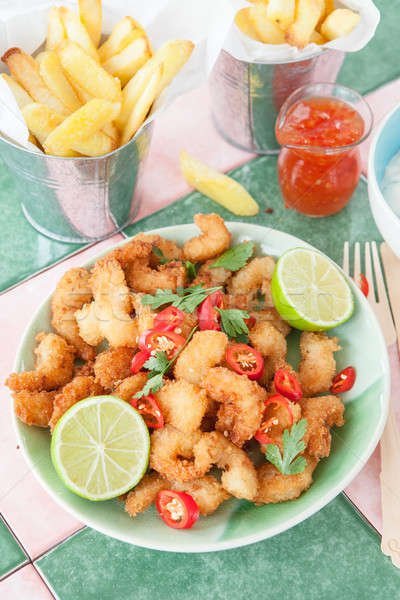Fried shrimps and French fries Stock photo © BarbaraNeveu