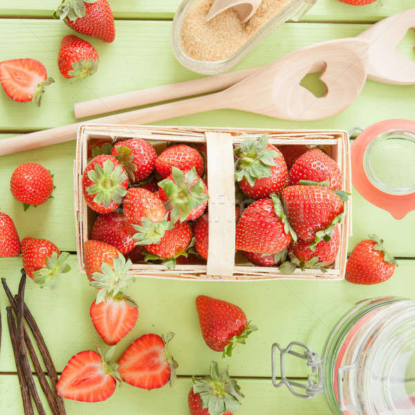 Cooking jam with fresh strawberries Stock photo © BarbaraNeveu