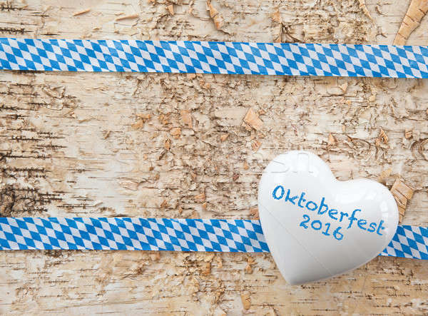 Rustic background with white and blue ribbon Stock photo © BarbaraNeveu