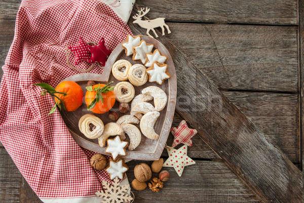 разнообразие Рождества Cookies орехи звезды зима Сток-фото © BarbaraNeveu
