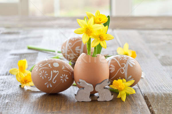 Yellow narcissus in egg shell Stock photo © BarbaraNeveu