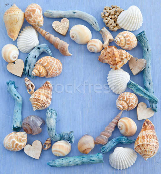 Wooden background with sea shells and hearts Stock photo © BarbaraNeveu