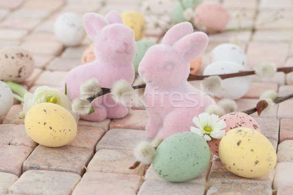 Pastel huevos de Pascua rústico piedra conejo diversión Foto stock © BarbaraNeveu