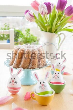 Piskóta húsvéti tojások forma színes virágok tavasz Stock fotó © BarbaraNeveu