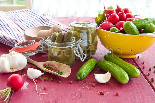 épices vinaigre vintage alimentaire légumes poivre Photo stock © BarbaraNeveu