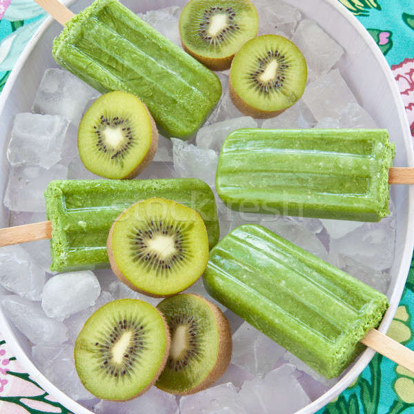 Green popsicles with fresh kiwi Stock photo © BarbaraNeveu