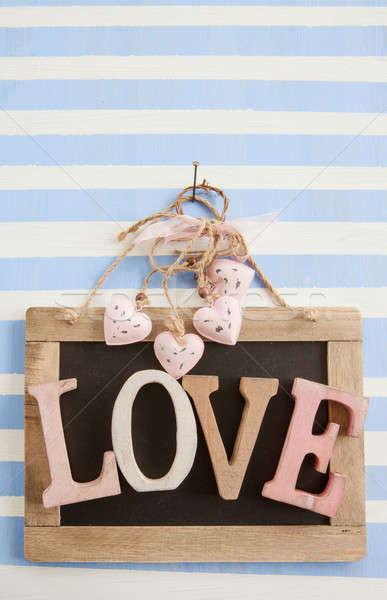 LOVE on rustic chalkboard on stripes Stock photo © BarbaraNeveu
