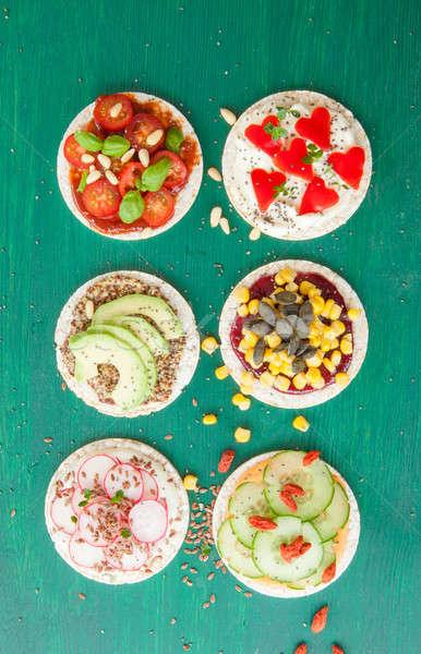 Rice cakes with fresh veggies Stock photo © BarbaraNeveu