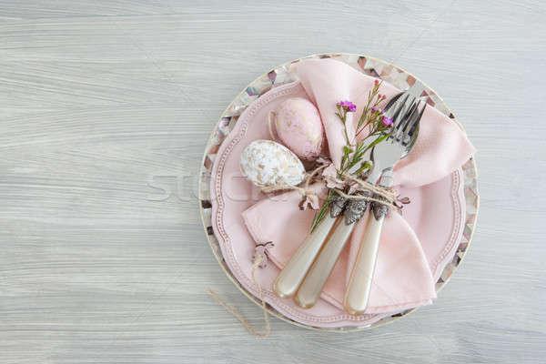 Décoratif table Pâques espace de copie oeufs plaque Photo stock © BarbaraNeveu