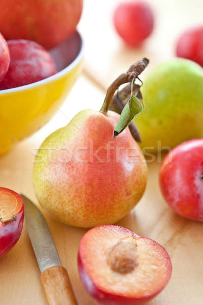 Fresh ripe plums, apples and pears Stock photo © BarbaraNeveu