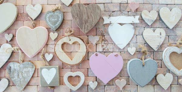разнообразие сердцах каменные любви древесины Сток-фото © BarbaraNeveu