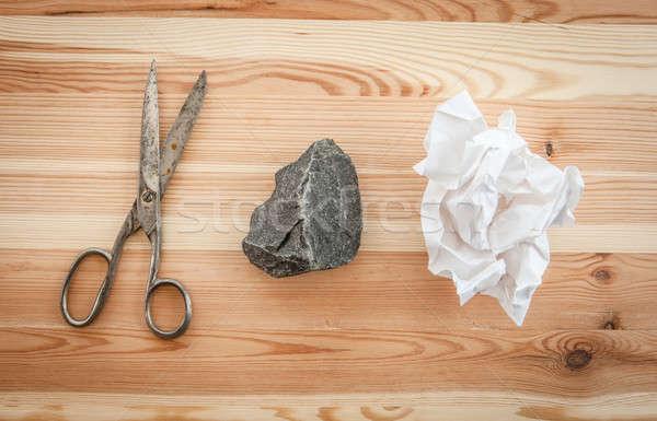 Kő papír olló rusztikus fából készült háttér Stock fotó © BarbaraNeveu