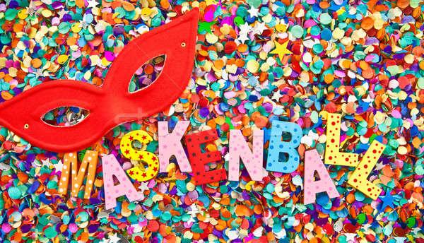 Maskenball in colorful wooden characters Stock photo © BarbaraNeveu