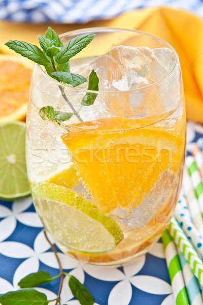 Bebida fria limões laranjas folha gelo verde Foto stock © BarbaraNeveu