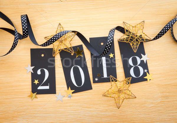 2018 with glittery decoration Stock photo © BarbaraNeveu