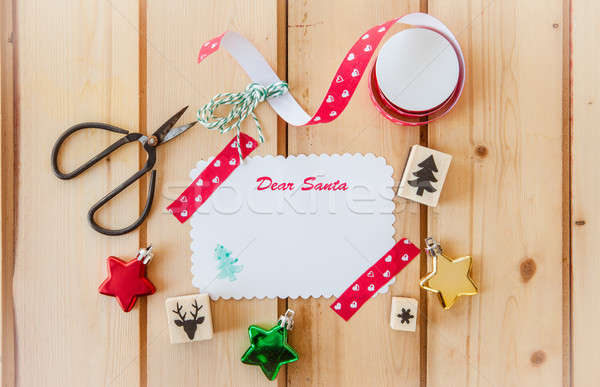 Boş kart Noel rustik ahşap bağbozumu makas Stok fotoğraf © BarbaraNeveu