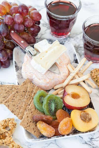 Zachte vers vruchten kaas plaat marmer Stockfoto © BarbaraNeveu