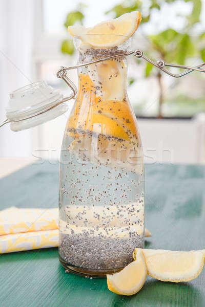Lemon water with chia seeds Stock photo © BarbaraNeveu
