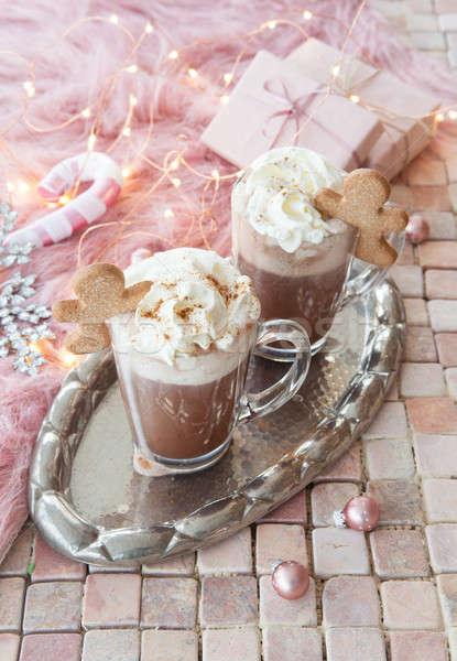 Forró csokoládé tejszínhab üveg bögre tél kő Stock fotó © BarbaraNeveu