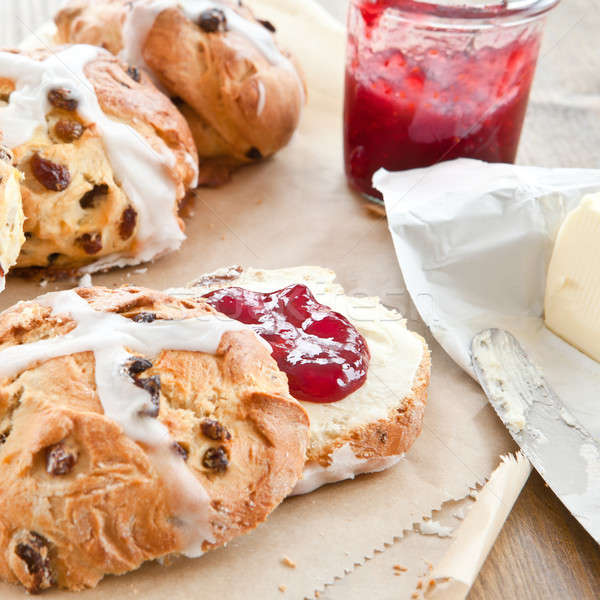 Hot cross buns with butter and jam Stock photo © BarbaraNeveu