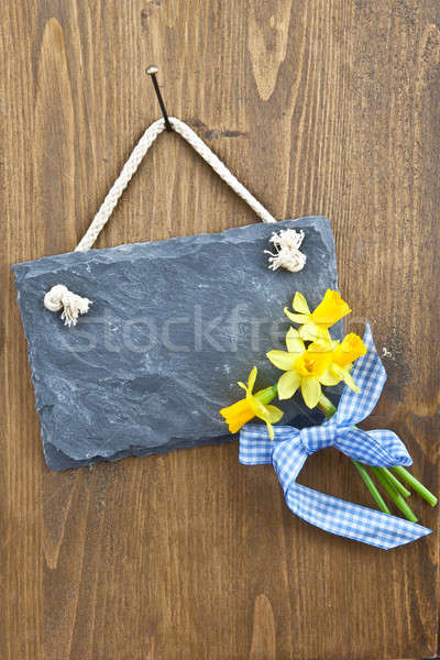 Little slate board and fresh daffodils Stock photo © BarbaraNeveu
