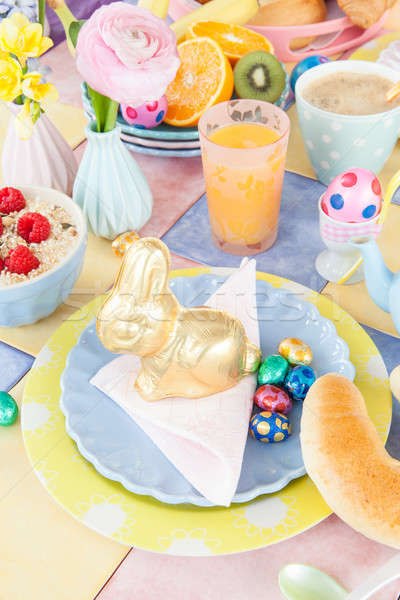 Cheerful table setting for easter breakfast Stock photo © BarbaraNeveu