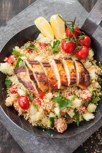 Cuscús pechuga de pollo pollo a la parrilla mama hierro alimentos Foto stock © BarbaraNeveu