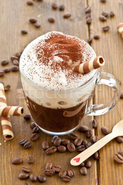 Foto stock: Copo · café · cremoso · leite · espuma · quente