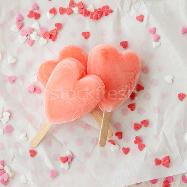 Ice cream pops in heart shape Stock photo © BarbaraNeveu