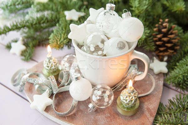 White mug with christmas baubles Stock photo © BarbaraNeveu