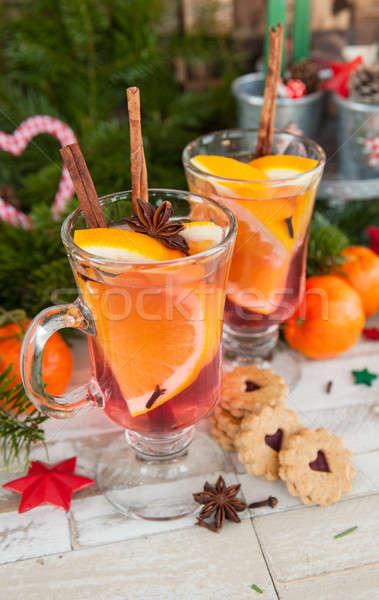 ストックフォト: ホット · オレンジ · シナモン · ワイン · 冬