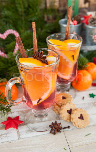 горячей напиток оранжевый корицей вино зима Сток-фото © BarbaraNeveu