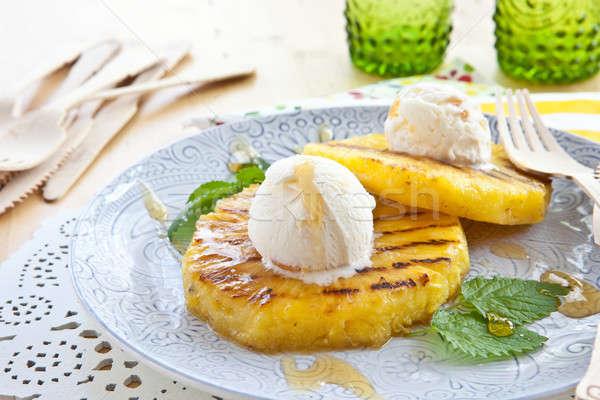 гриль ананаса мороженым ваниль вилка горячей Сток-фото © BarbaraNeveu