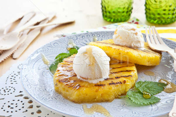 Gegrild ananas ijs vanille vork hot Stockfoto © BarbaraNeveu