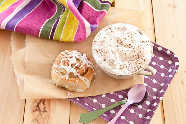 Fresh cinnamon roll and coffee Stock photo © BarbaraNeveu