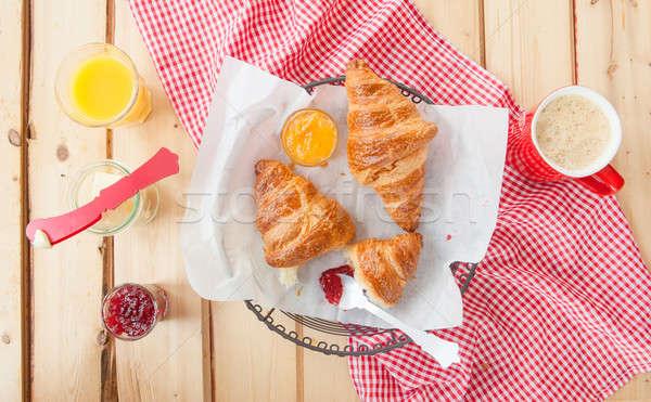 Vers croissants ontbijt frans jam mand Stockfoto © BarbaraNeveu