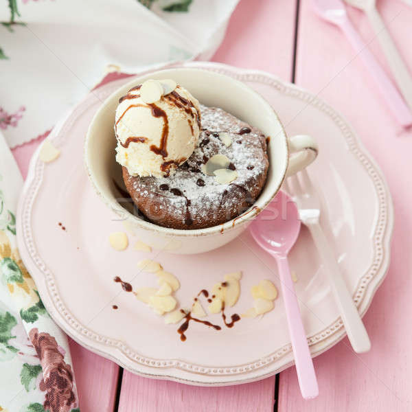 Mug cake with vanilla ice cream Stock photo © BarbaraNeveu