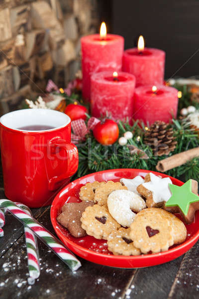 Stock photo: Christmas cookies and tea