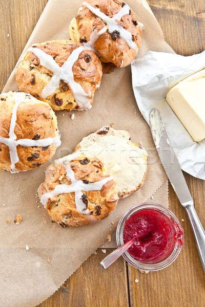 Heißen Kreuz Butter Marmelade frischen Ostern Stock foto © BarbaraNeveu