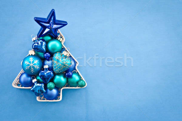Stock photo: Blue christmas baubles