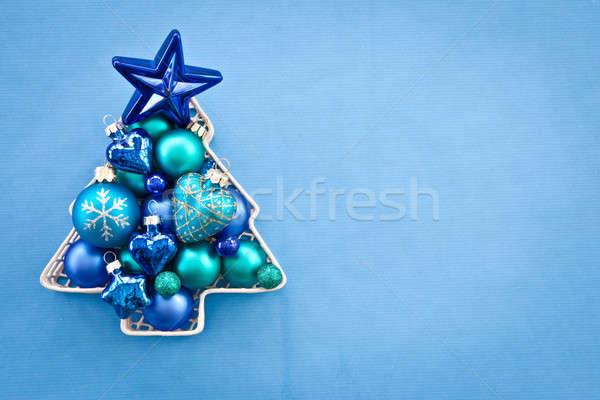 Kék karácsony fa forma tér színes Stock fotó © BarbaraNeveu