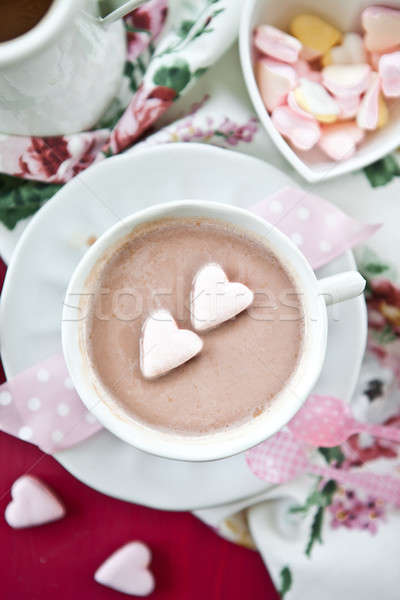 Chocolat chaud chocolat lait rétro ruban rose Photo stock © BarbaraNeveu