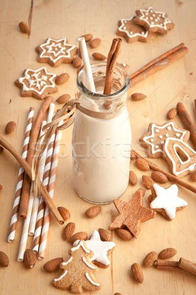 Garrafa amêndoa leite vintage caseiro natal Foto stock © BarbaraNeveu