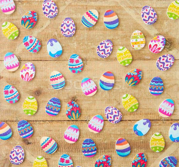 Stock fotó: Tarka · tojások · fából · készült · rusztikus · húsvét · tavasz