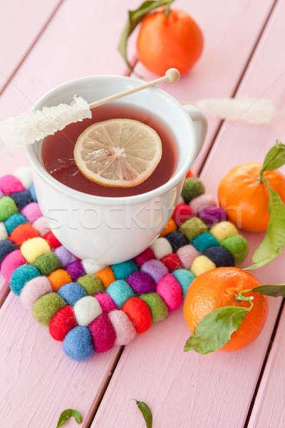 Té rebanada limón taza diversión caliente Foto stock © BarbaraNeveu