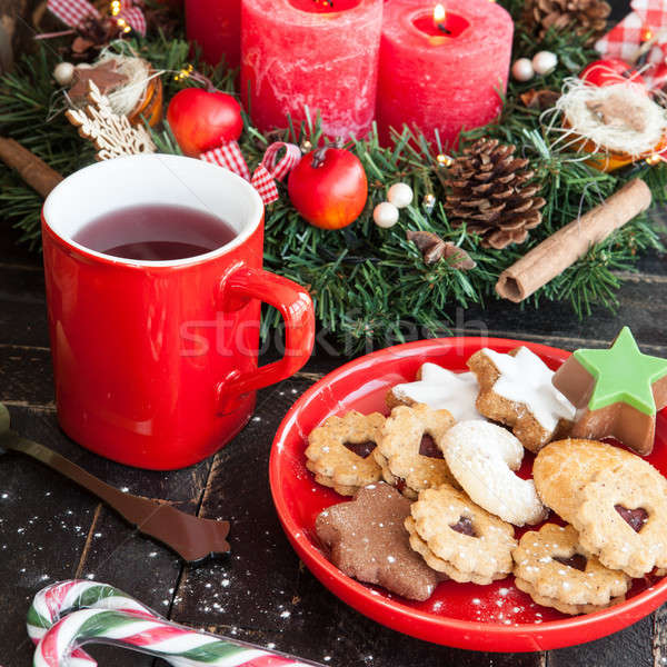 Photo stock: Noël · cookies · thé · mug · chaud