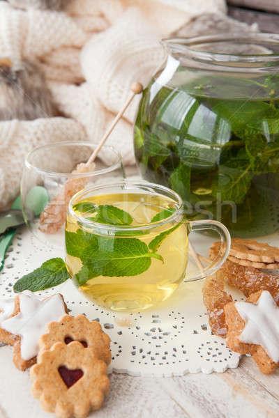 чай свежие мята листьев сахар конфеты Сток-фото © BarbaraNeveu