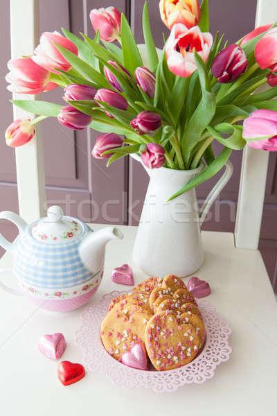 Sugar cookies with heart sprinkles Stock photo © BarbaraNeveu