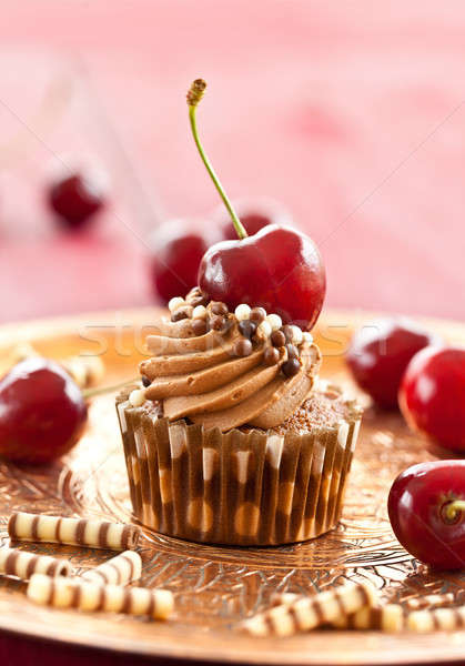Chocolate cupcake with cherries Stock photo © BarbaraNeveu