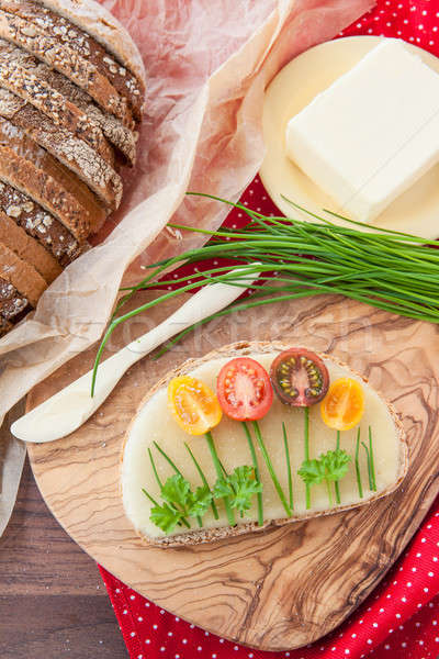 Bread with cheese and tomatoes Stock photo © BarbaraNeveu